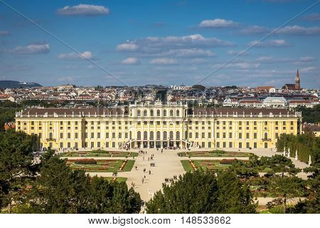 Cityscape Vienna With Schonbrunn Palace landmark and travel destination in Austrias capital city