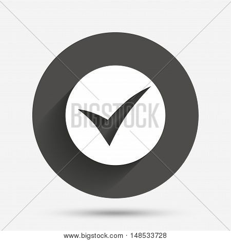 Check sign icon. Yes symbol. Confirm. Circle flat button with shadow. Vector