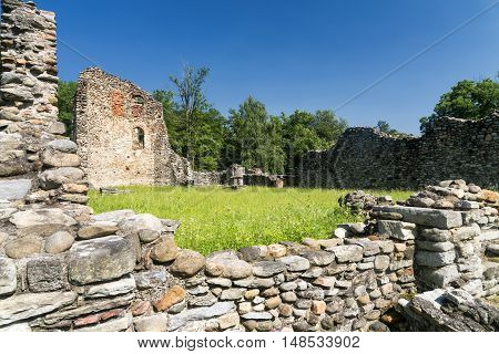 The archeological area of Castelseprio (Varese Lombardy Italy): ruins of a village destroyed in the 13th century. Unesco World Heritage Site.