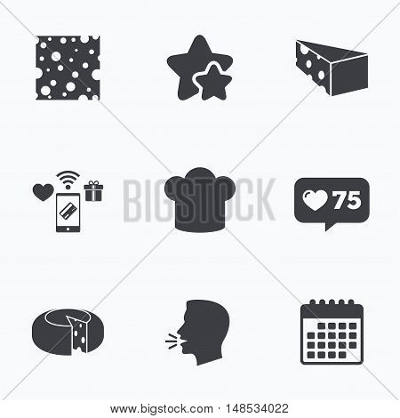 Cheese icons. Round cheese wheel sign. Sliced food with chief hat symbols. Flat talking head, calendar icons. Stars, like counter icons. Vector