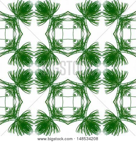 Abstract seamless pattern of stylized green and gold needles. Green generated texture of needles on a white background