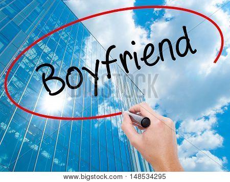Man Hand Writing Boyfriend With Black Marker On Visual Screen.