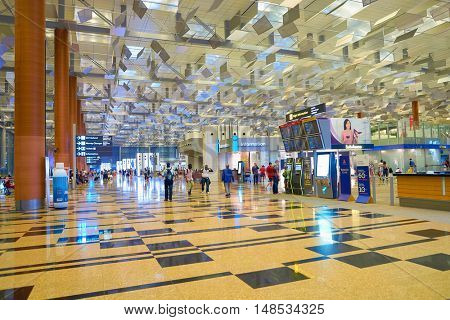 SINGAPORE - CIRCA AUGUST, 2016: inside of Changi Aiport. Changi Airport is the primary civilian airport for Singapore.