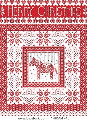 Merry Christmas Scandinavian style, inspired by Norwegian Christmas, festive winter seamless pattern in cross stitch with Swedish Dala horse, snowflakes and decorative ornaments in red, white