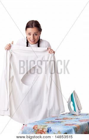Young Woman With Shirt And Iron.