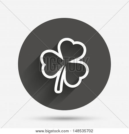 Clover with three leaves sign icon. Trifoliate clover. Saint Patrick trefoil symbol. Circle flat button with shadow. Vector