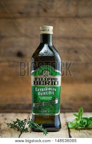 Sarajevo, Bosnia and Herzegovina - September 21, 2016: One bottle of Filippo Berio Extra Virgin Olive Oil. Filippo Berio is a brand of olive oils exported from Italy.