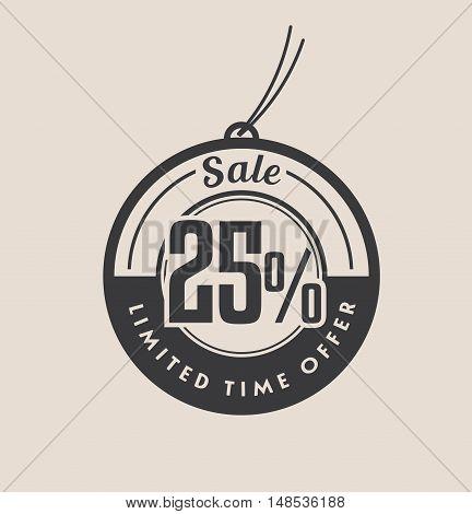 Twenty five percent discount. Sale vector tags.