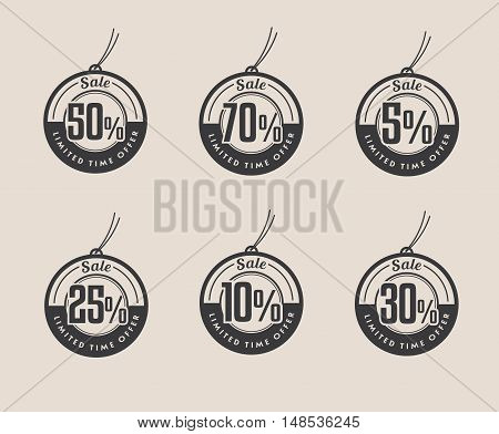 Set of Discount tags. Black Sale vector labels.