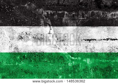 Flag Of Gelsenkirchen, Germany, Painted On Dirty Wall