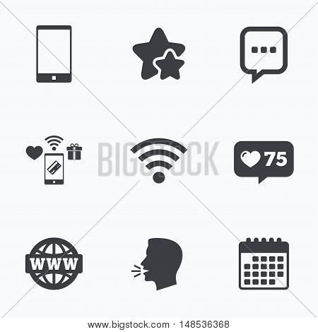 Communication icons. Smartphone and chat speech bubble symbols. Wifi and internet globe signs. Flat talking head, calendar icons. Stars, like counter icons. Vector
