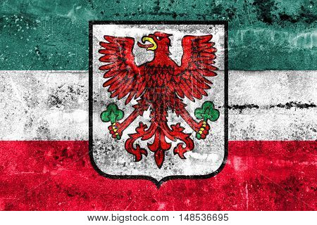Flag Of Gorzow Wielkopolski With Coat Of Arms, Poland, Painted On Dirty Wall
