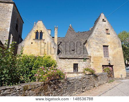 Medieval stone buildings in town, Perigord, Aquitanie, France
