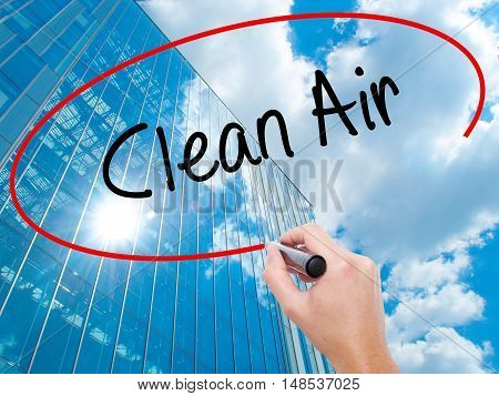 Man Hand Writing Clean Air With Black Marker On Visual Screen