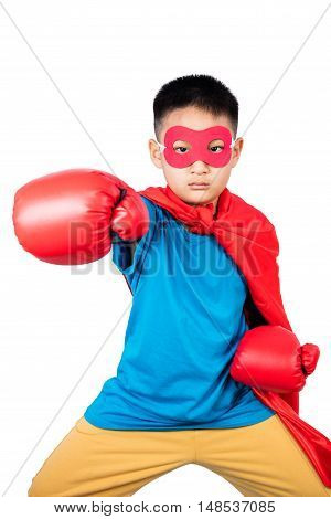 Asian Chinese Boy Wearing Super Hero Costume With Boxing Gloves