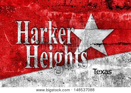 Flag Of Harker Heights, Texas, Usa, Painted On Dirty Wall