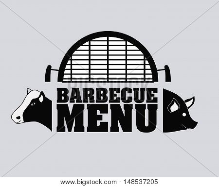 pork cow bbq and grill menu icon. Steak house food and restaurant theme. Isolated design. Vector illustration