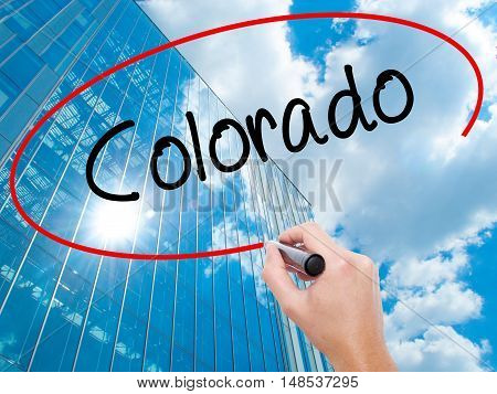 Man Hand Writing Colorado  With Black Marker On Visual Screen