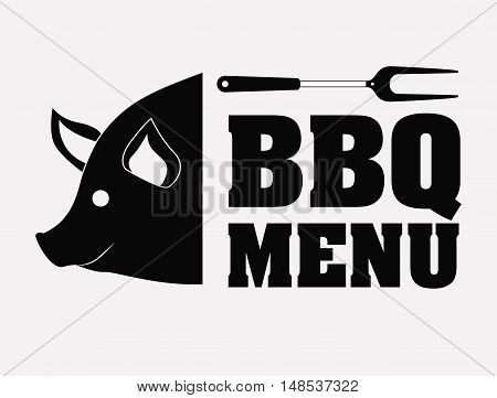 Pork pig bbq and grill menu icon. Steak house food and restaurant theme. Isolated design. Vector illustration