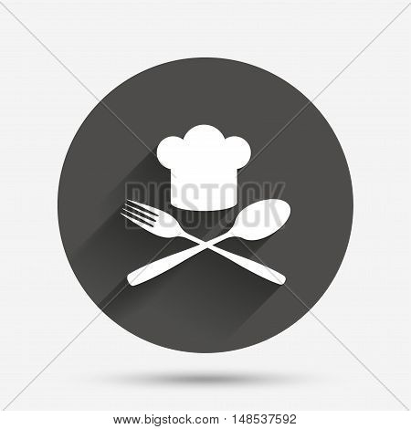 Chef hat sign icon. Cooking symbol. Cooks hat with fork and spoon. Circle flat button with shadow. Vector