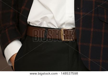 Stylish man holding hand in pocket