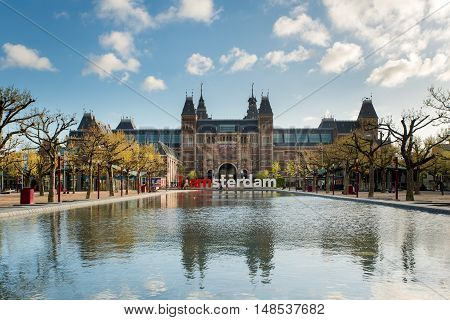 Amsterdam Netherland - May 03 2016: Rijksmuseum Amsterdam museum area with the words IAMSTERDAM is shown in Amsterdam Netherlands.