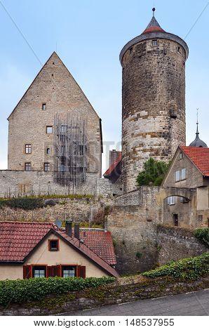 Old Castle Tower in Besigheim Baden-Wurttemberg Germany. Vertical view.