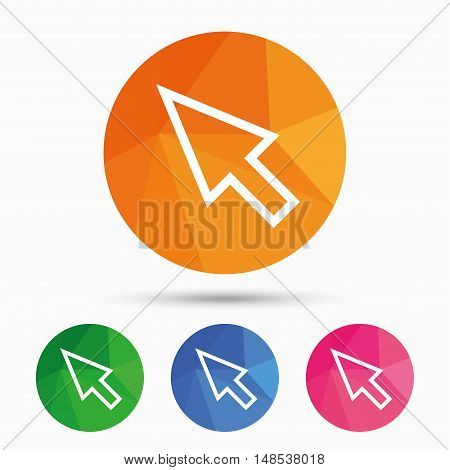 Mouse cursor sign icon. Pointer symbol. Triangular low poly button with flat icon. Vector