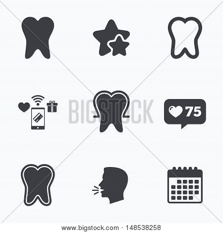 Tooth enamel protection icons. Dental care signs. Healthy teeth symbols. Flat talking head, calendar icons. Stars, like counter icons. Vector