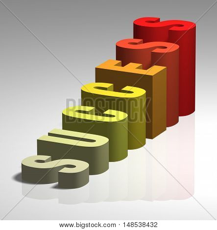Success 3D business growth graph graphic graphical