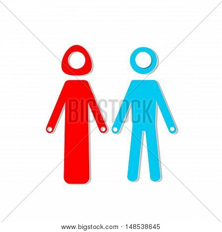 Abstract composition. Blue man red woman figures together. Family icon design. Connected people silhouettes model. Human relationship. Male female gender. Feeling love. Simple flat style. Vector art