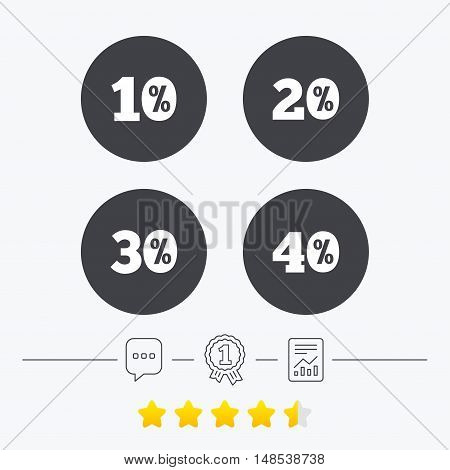 Sale discount icons. Special offer price signs. 10, 20, 30 and 40 percent off reduction symbols. Chat, award medal and report linear icons. Star vote ranking. Vector