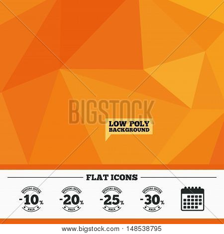 Triangular low poly orange background. Sale discount icons. Special offer stamp price signs. 10, 20, 25 and 30 percent off reduction symbols. Calendar flat icon. Vector