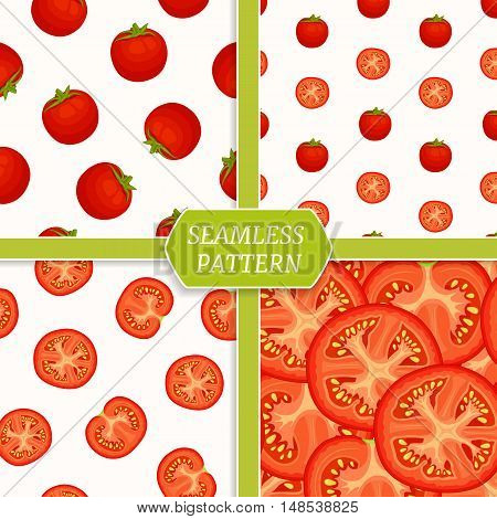 Tomato backgrounds set. Collection of seamless patterns with red tomatoes.