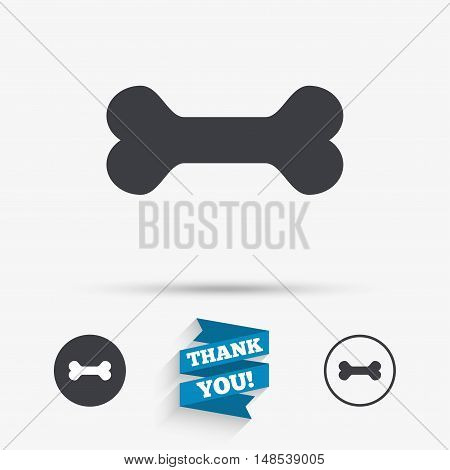 Dog bone sign icon. Pets food symbol. Flat icons. Buttons with icons. Thank you ribbon. Vector