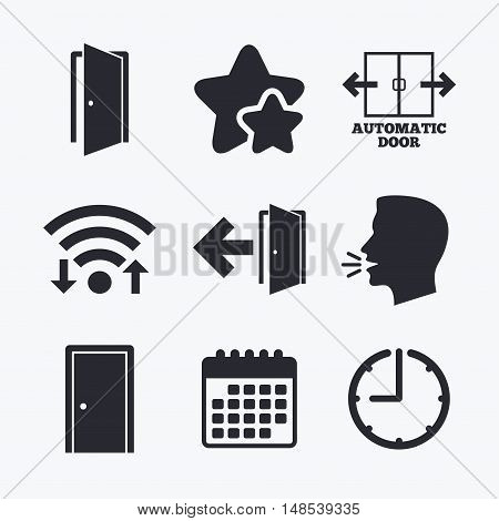 Automatic door icon. Emergency exit with arrow symbols. Fire exit signs. Wifi internet, favorite stars, calendar and clock. Talking head. Vector