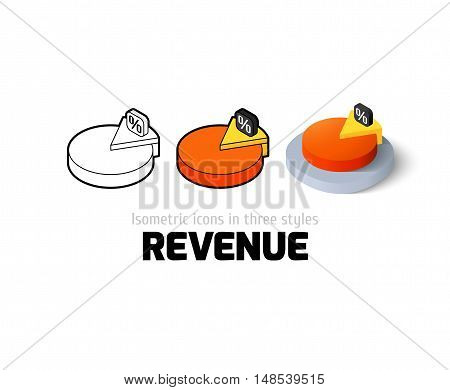 Revenue icon, vector symbol in flat, outline and isometric style