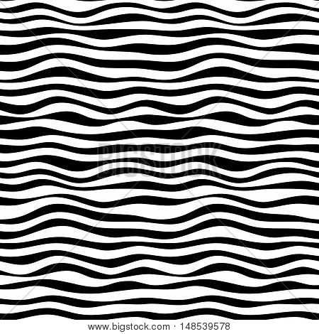 Simple curved black and white illusion wave seamless pattern.