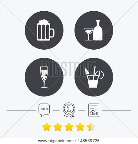 Alcoholic drinks icons. Champagne sparkling wine and beer symbols. Wine glass and cocktail signs. Chat, award medal and report linear icons. Star vote ranking. Vector