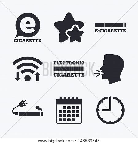 E-Cigarette with plug icons. Electronic smoking symbols. Speech bubble sign. Wifi internet, favorite stars, calendar and clock. Talking head. Vector