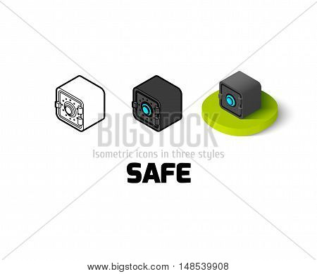 Safe icon, vector symbol in flat, outline and isometric style