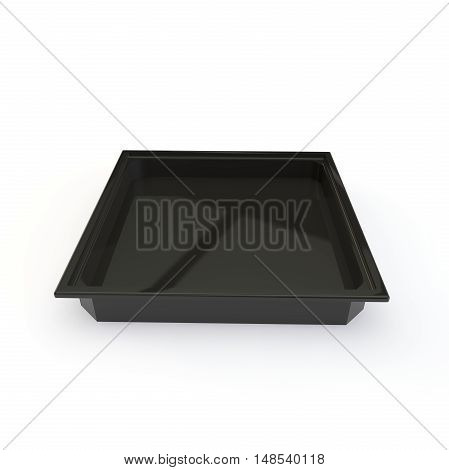 Plastic Black Container For Japanese Rolls And Other Goods And Products. Isolated White Background
