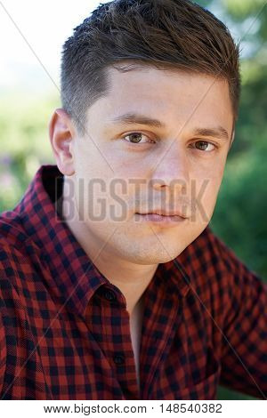 Head And Shoulders Portrait Of Concerned Man