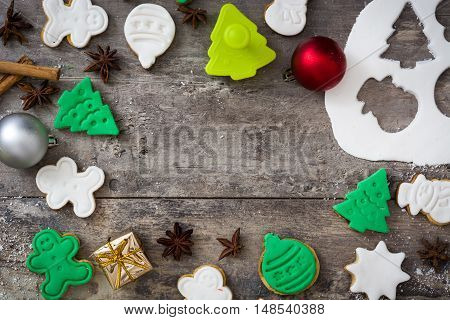 Christmas cookies on rustic wooden table background