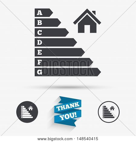 Energy efficiency icon. Electricity consumption symbol. House building sign. Flat icons. Buttons with icons. Thank you ribbon. Vector