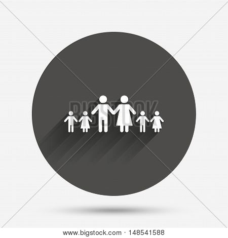 Complete family with many children sign icon. Large family symbol. Circle flat button with shadow. Vector