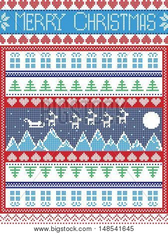 Merry Christmas Scandinavian style, inspired by Norwegian Christmas, festive winter seamless pattern in cross stitch with Xmas trees, snowflakes, Reindeer, Mountains,  Sleigh, moon, sky , gifts, stars
