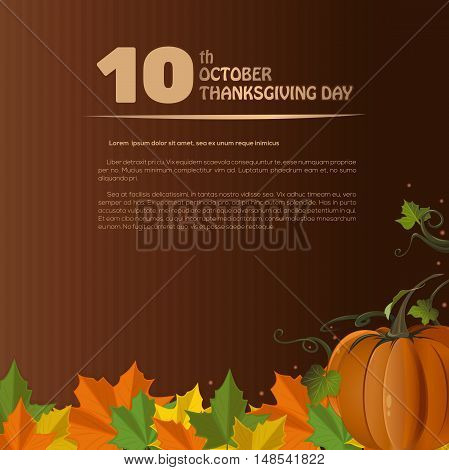Autumn design for Thanksgiving Day (Canada). Autumn 2016. 10th October. Thanksgiving Day. Vector illustration