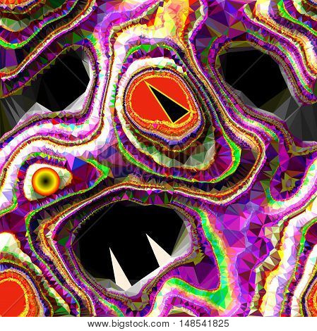 Abstract monster of layered polygonal texture with sharp teeth. Green, yellow, red, white and pink abstract layered structure resembling scary creature