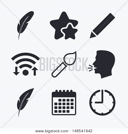 Feather retro pen icons. Paint brush and pencil symbols. Artist tools signs. Wifi internet, favorite stars, calendar and clock. Talking head. Vector